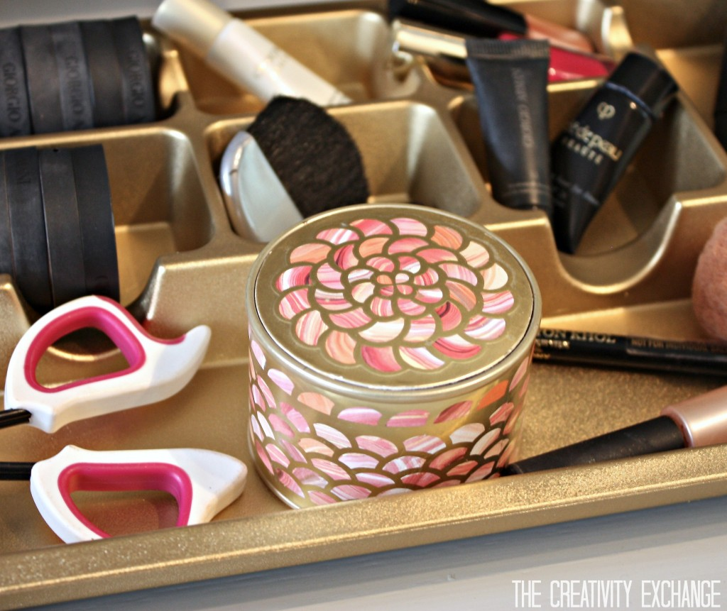 Spray paint cheap plastic drawer organizers in metallics {Paint It Monday} The Creativity Exchange