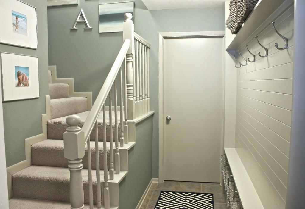 Home Hallway Design Ideas: Narrow Hallway Built-In DIY Mudroom