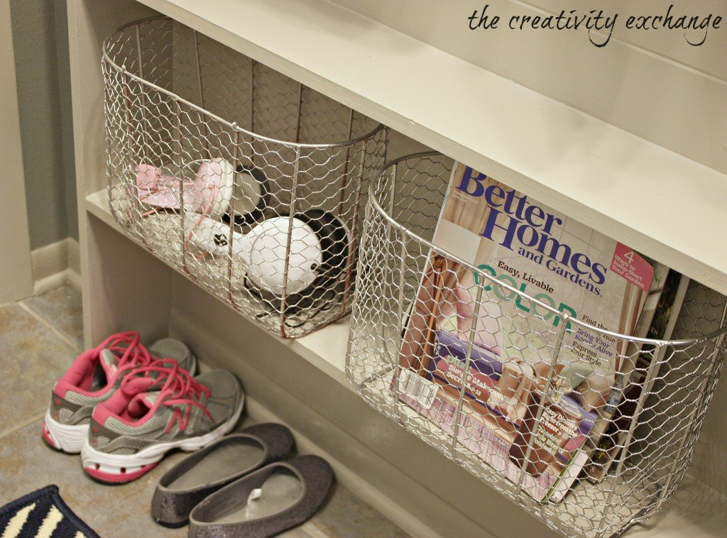 how to turn a narrow hallway into a mudroom and also add narrow shelving for baskets (The Creativity Exchange)
