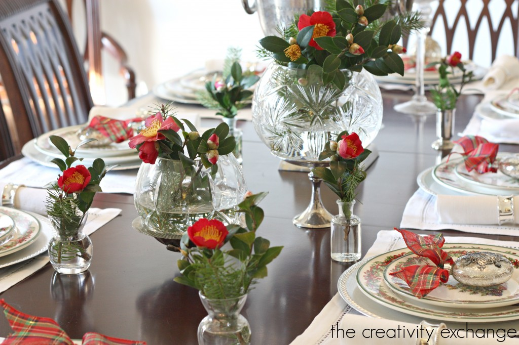 Christmas camellia's for Christmas table- 12 Days of Christmas Home Tour {The Creativity Exchange}