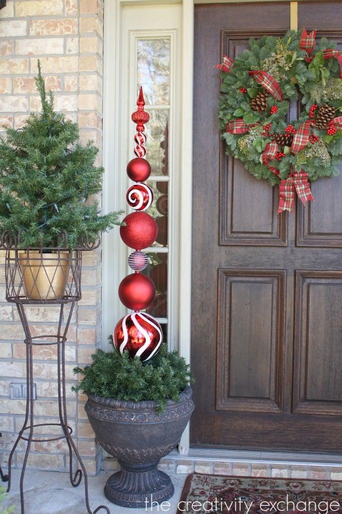 Diy tall ornament topiary