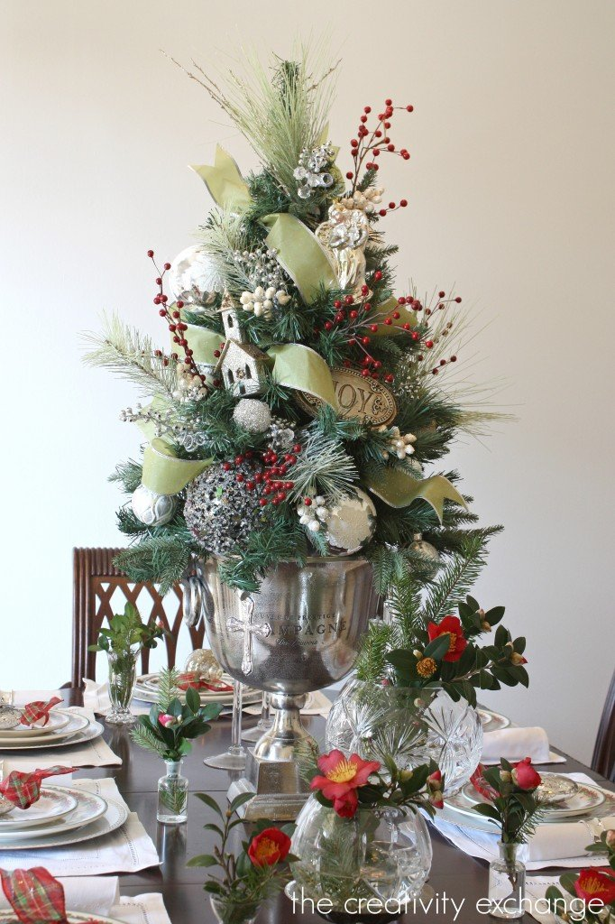 Dining room Christmas tree in Champagne bucket {The Creativity Exchange}