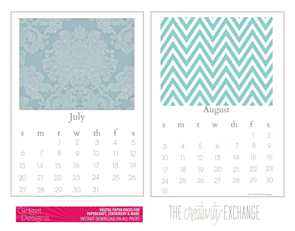 Free printable 2014 chic desktop calendar {The Creativity Exchange} July August