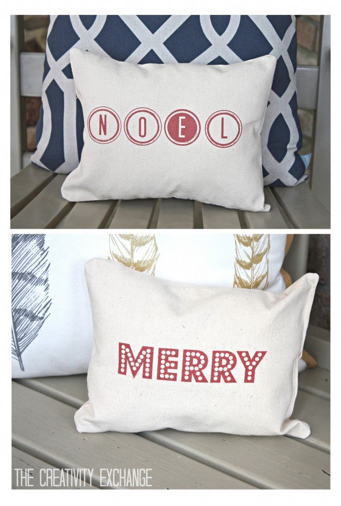 Free printable for making these adorable Merry and Noel Christmas pillows. Tutorial for how to print on fabric. {The Creativity Exchange}