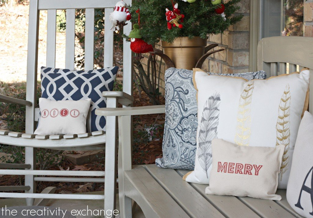 Free printable for printing directly onto fabric and making Christmas pillows. {The Creativity Exchange}