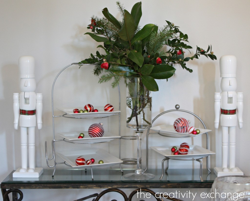 Small buffet area for the holidays {The Creativity Exchange}