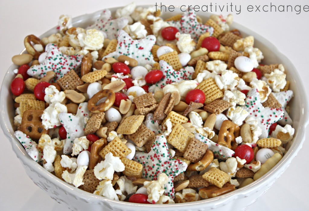 Sweet and salty Christmas snack mix. Great gift idea to fill a crystal biscuit jar with the mix. {The Creativity Exchange}
