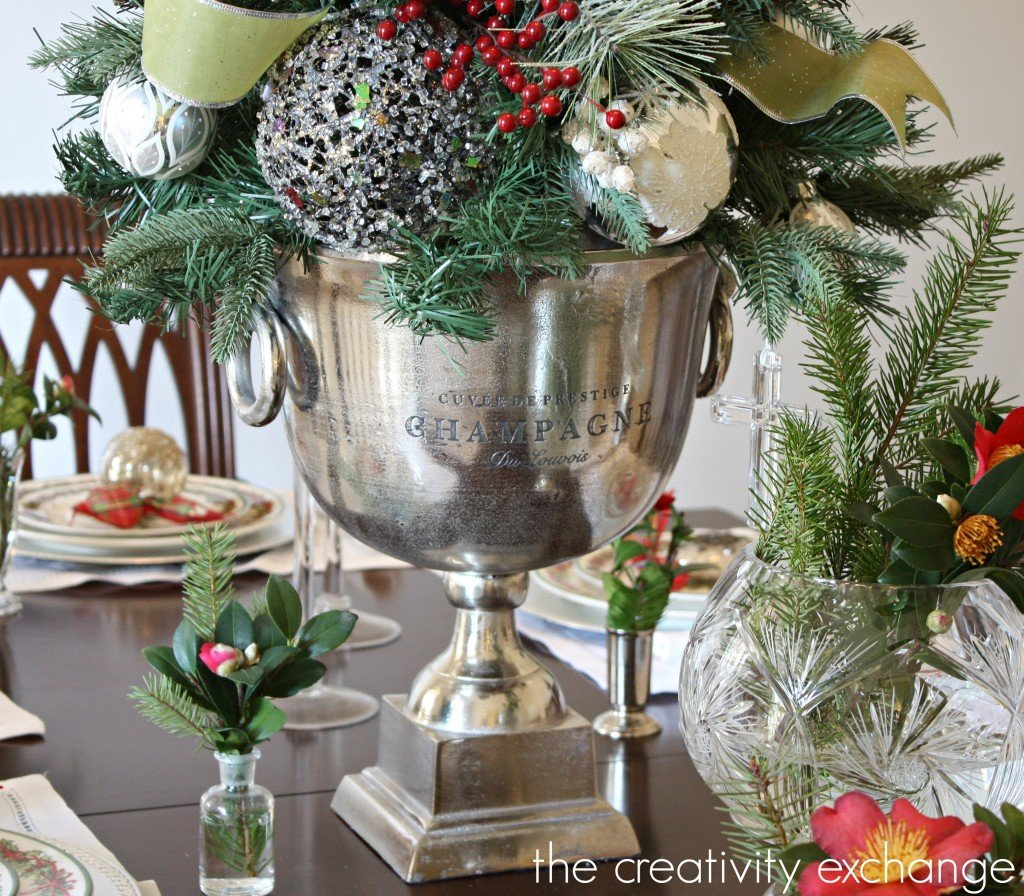 Table Christmas tree in Champagne bucket {The Creativity Exchange}