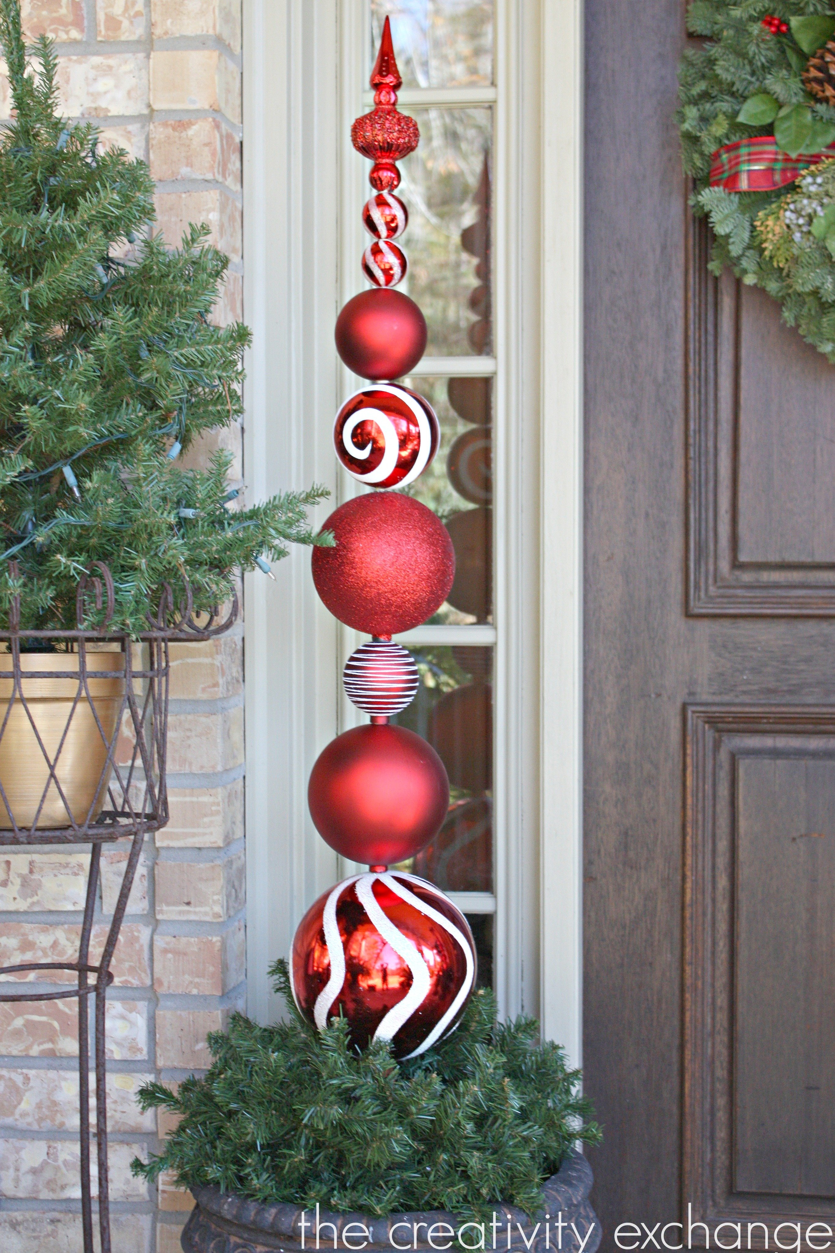 Diy tall ornament topiary for Outside house ornaments