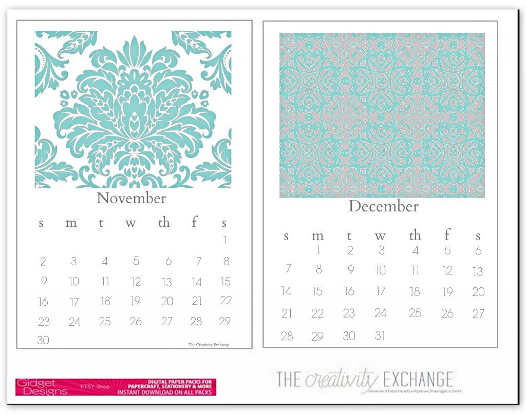 free printabel 2014 chic desktop calendar (The Creativity Exchange) Nov. Dec.