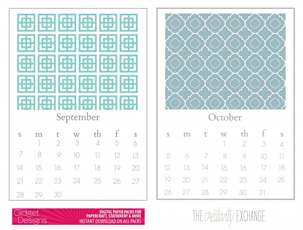 free printable 2014 calendar- desktop The Creativity Exchange (sept. and Oct.)
