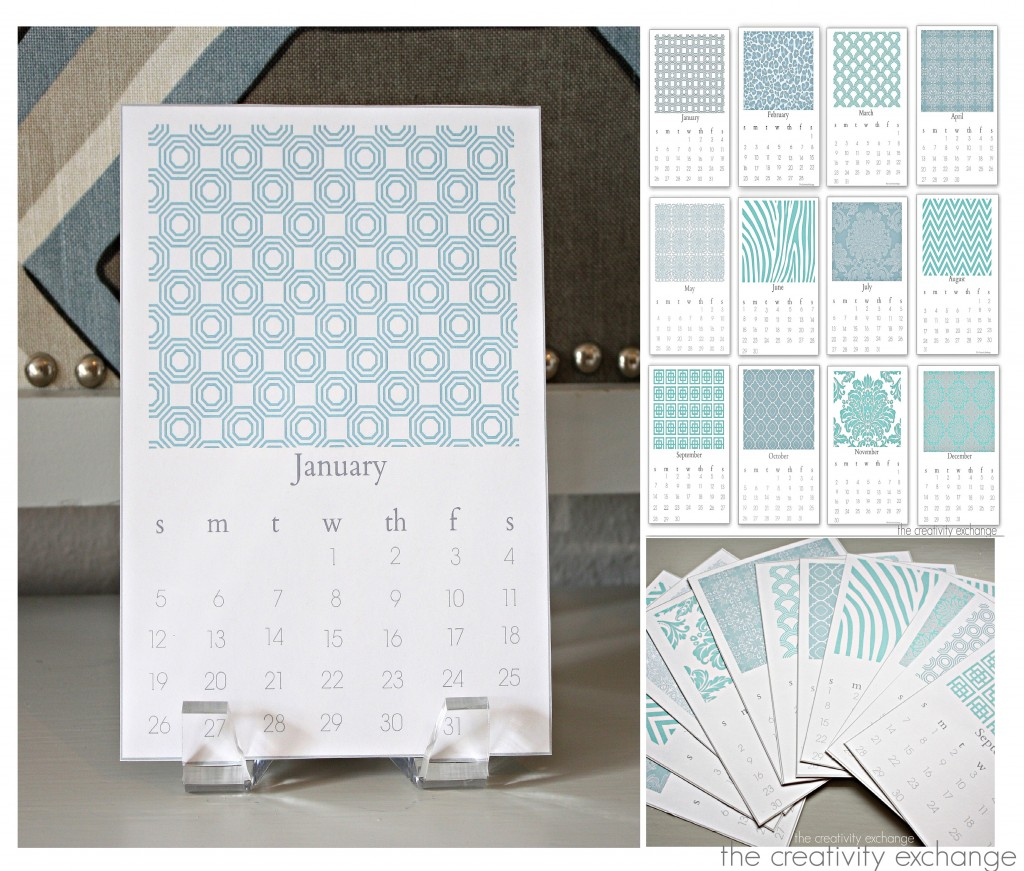 free printable 2014 chic desktop calendar. The Creativity Exchange and Gidget Designs