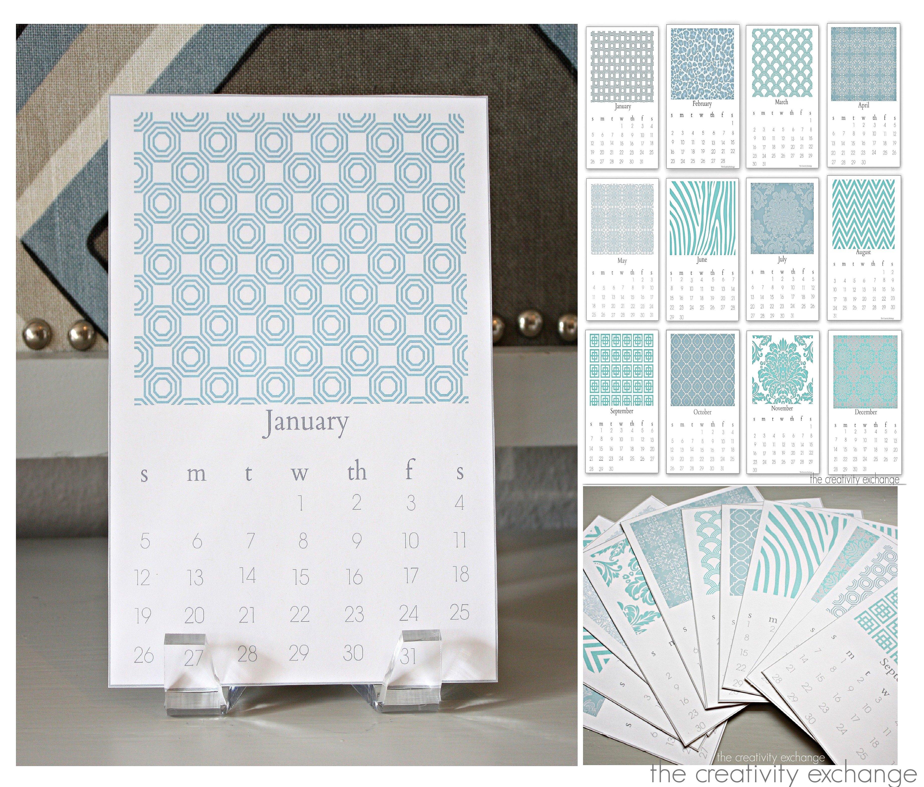 Printable Calendar Graphic Design : Free printable chic desktop calendar