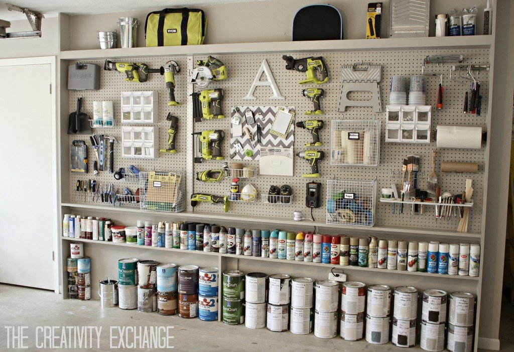 DIY Garage Pegboard Storage Wall Using Only 5.5 Inches in Depth. {The Creativity Exchange}