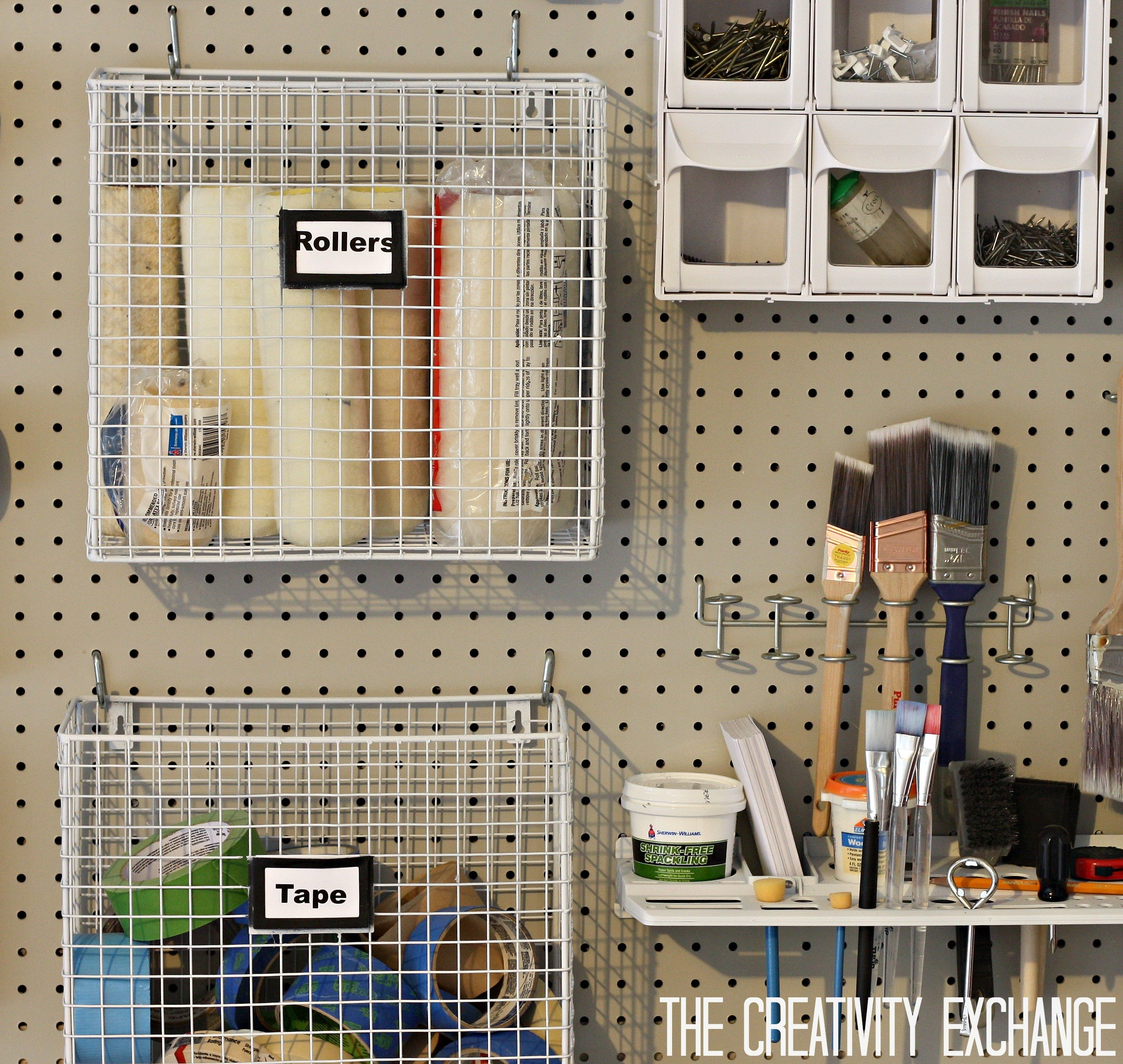diy garage pegboard storage wall using only 55 inches of depth the creativity exchange