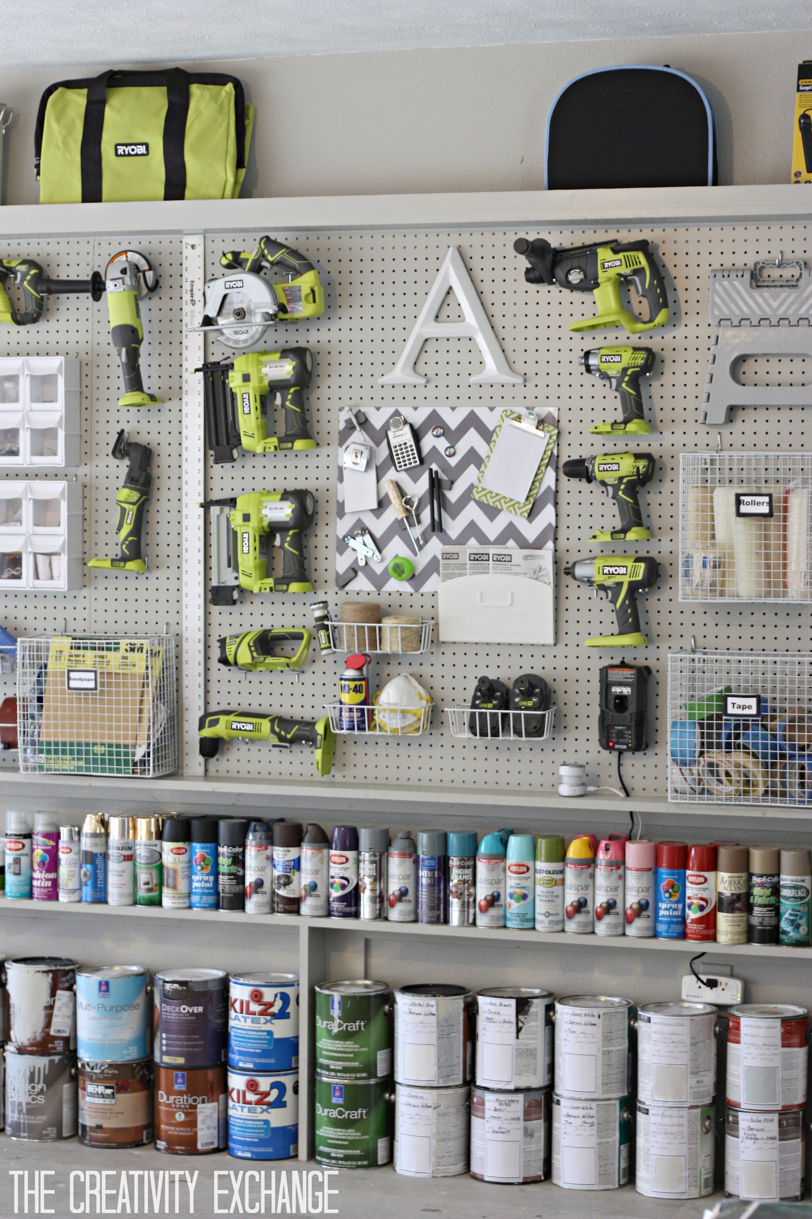 DIY Garage pegboard for tools, spray paint and supplies. Only need 5.5 inches for depth. {The Creativity Exchange}