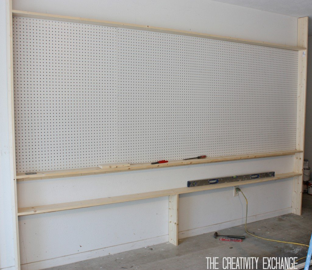 Tutorial for DIY Pegboard Storage Wall {The Creativity Exchange}