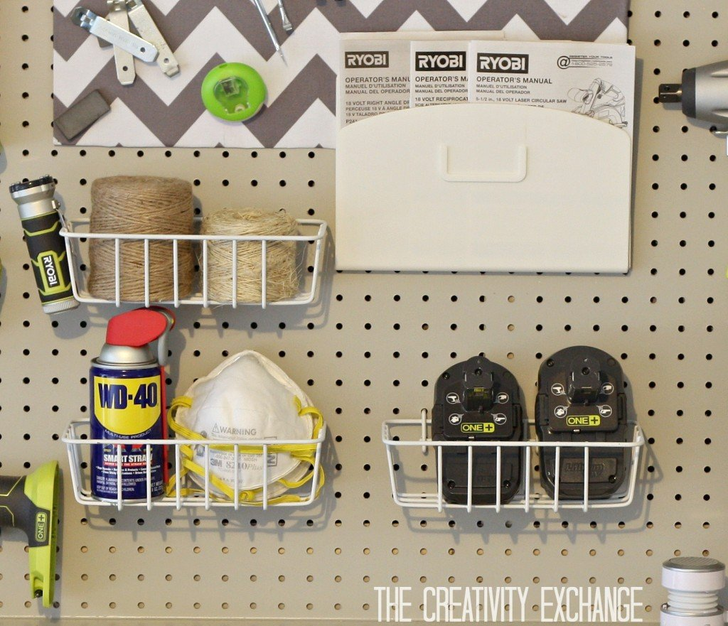 Pegboard baskets from Home Depot {The Creativity Exchange}