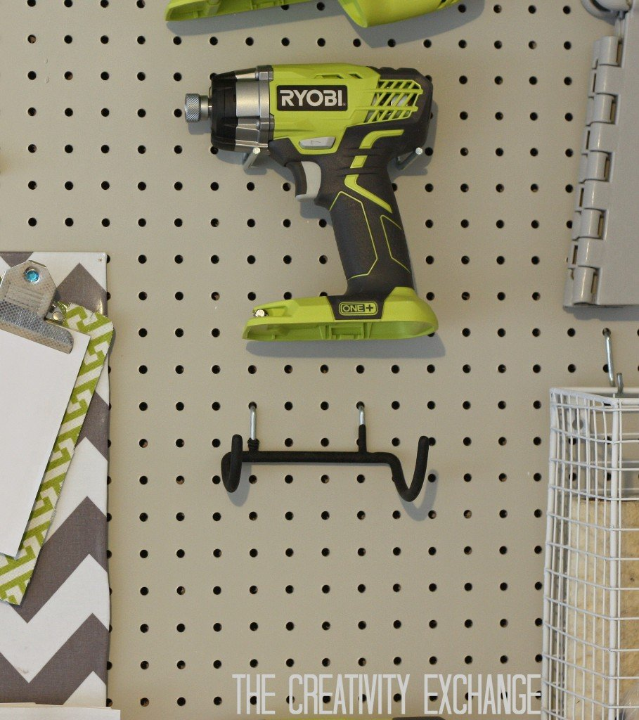 Pegboard tool holder hooks from Home Depot {The Creativity Exchange}