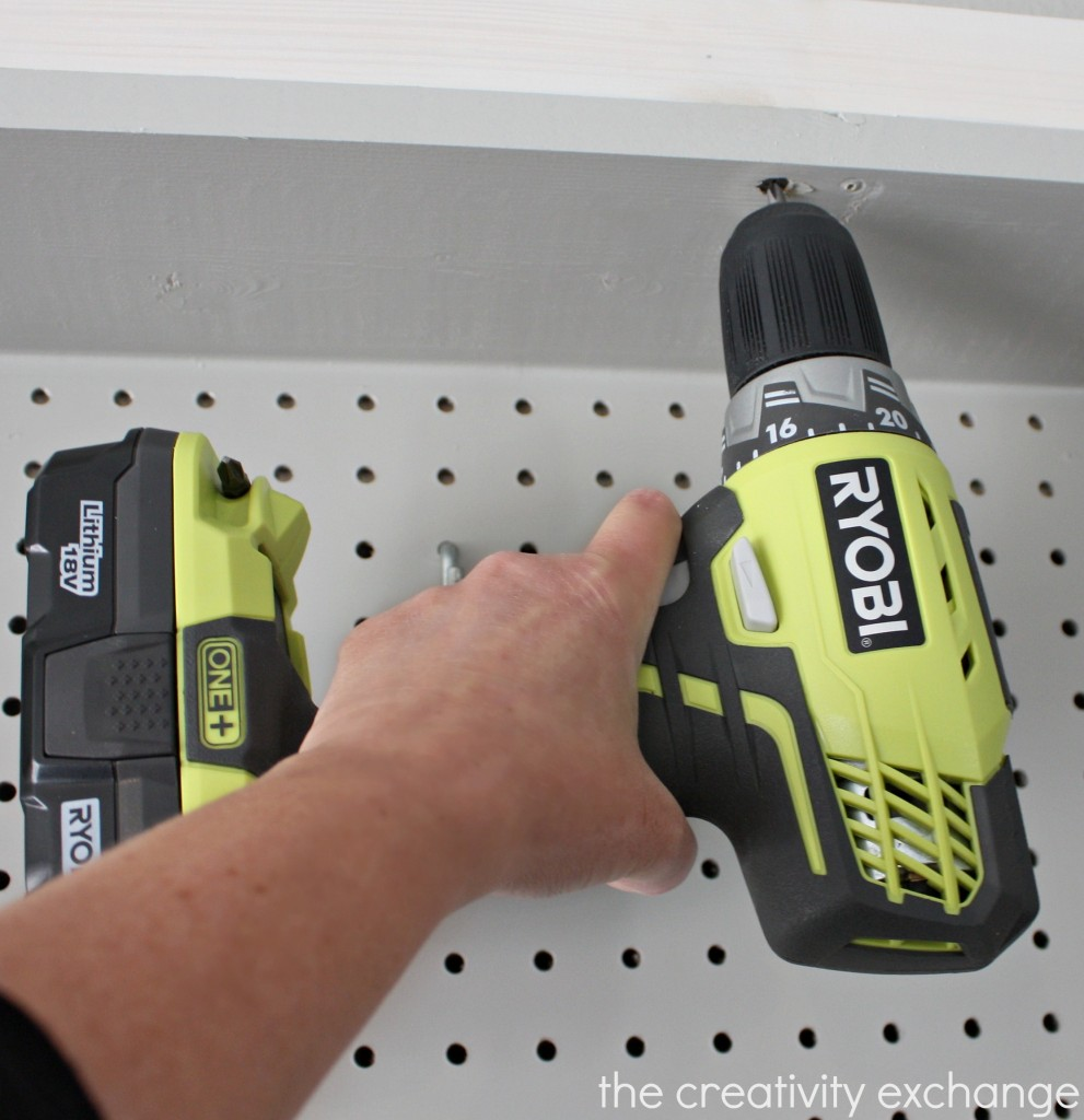 RYOBI One + Lithium 18v Cordless Drill {DIY Pegboard Storage Wall} The Creativity Exchange
