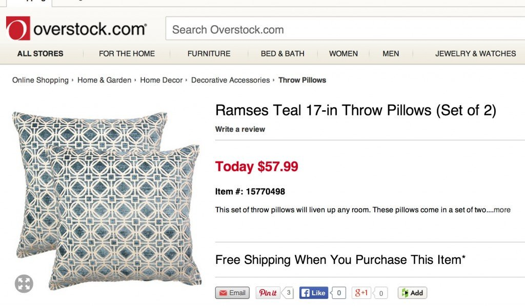 Look for Less. Overstock is a great place for high end looking pillows for a lot less. {The Creativity Exchange}