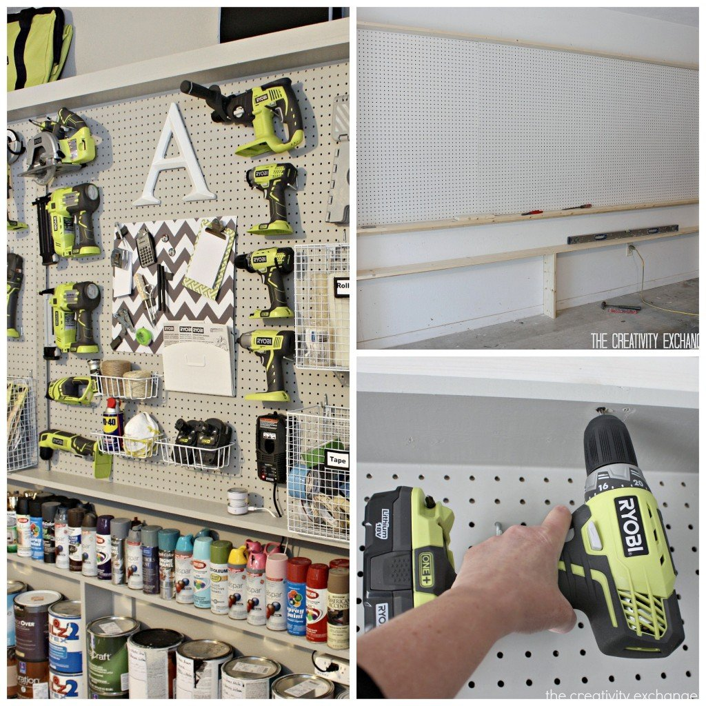 tutorial for organizing the garage with a pegboard storage wall..