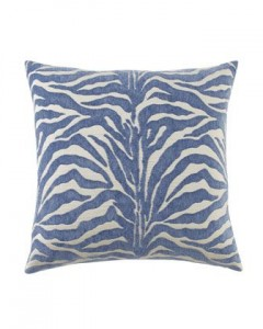 Zebra Azul pillow in cornflower from Neiman Marcus- Decorating with Shades of indigo. {The Creativity Exchange}