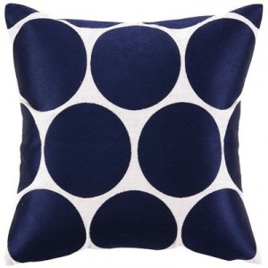 Dark navy dot pillow from Layla Grayce- Decorating with shades of indigo {The Creativity Exchange}