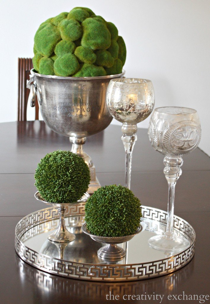 Moss balls in urn and candy dishes {The Creativity Exchange}