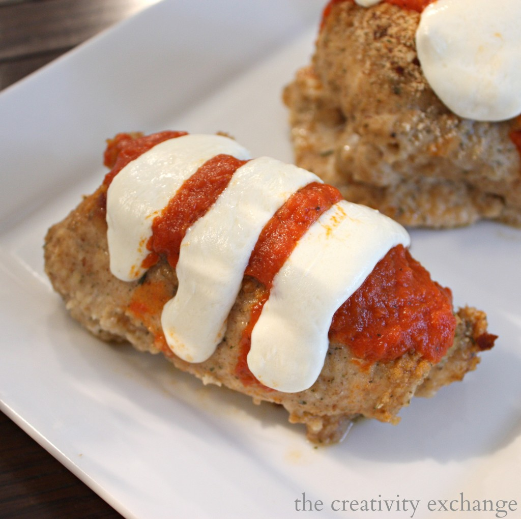 Easy stuffed chicken parmesan-Baked {The