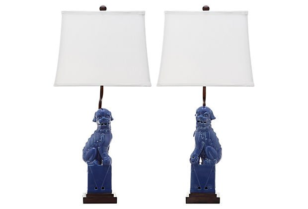 Pair of indigo Foo Dog lamps from One Kings Lane {The Creativity Exchange}