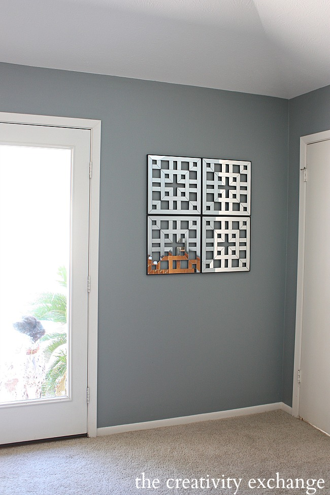 fret work mirrored squares attached together for large statement piece- Mirrors from Kirkland's- The Creativity Exchange
