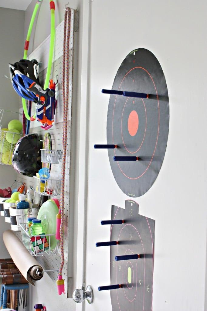 DIY Garage Pegboard Outdoor Toy Storage Wall {The Creativity Exchange} ScotchBlue Tape