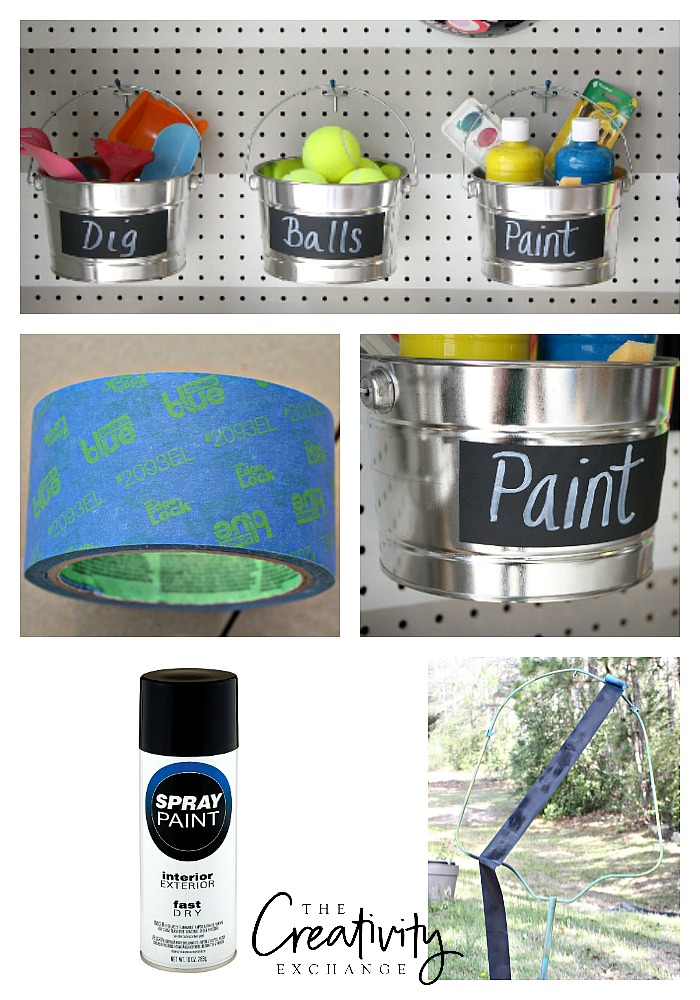 Make your own chalkboard labels by spray painting painters tape in flat black paint.