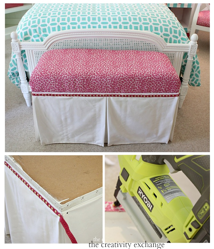 Easy trick for dressing up benches and ottomans using a faux fabric panel trick.  The Creativity Exchange