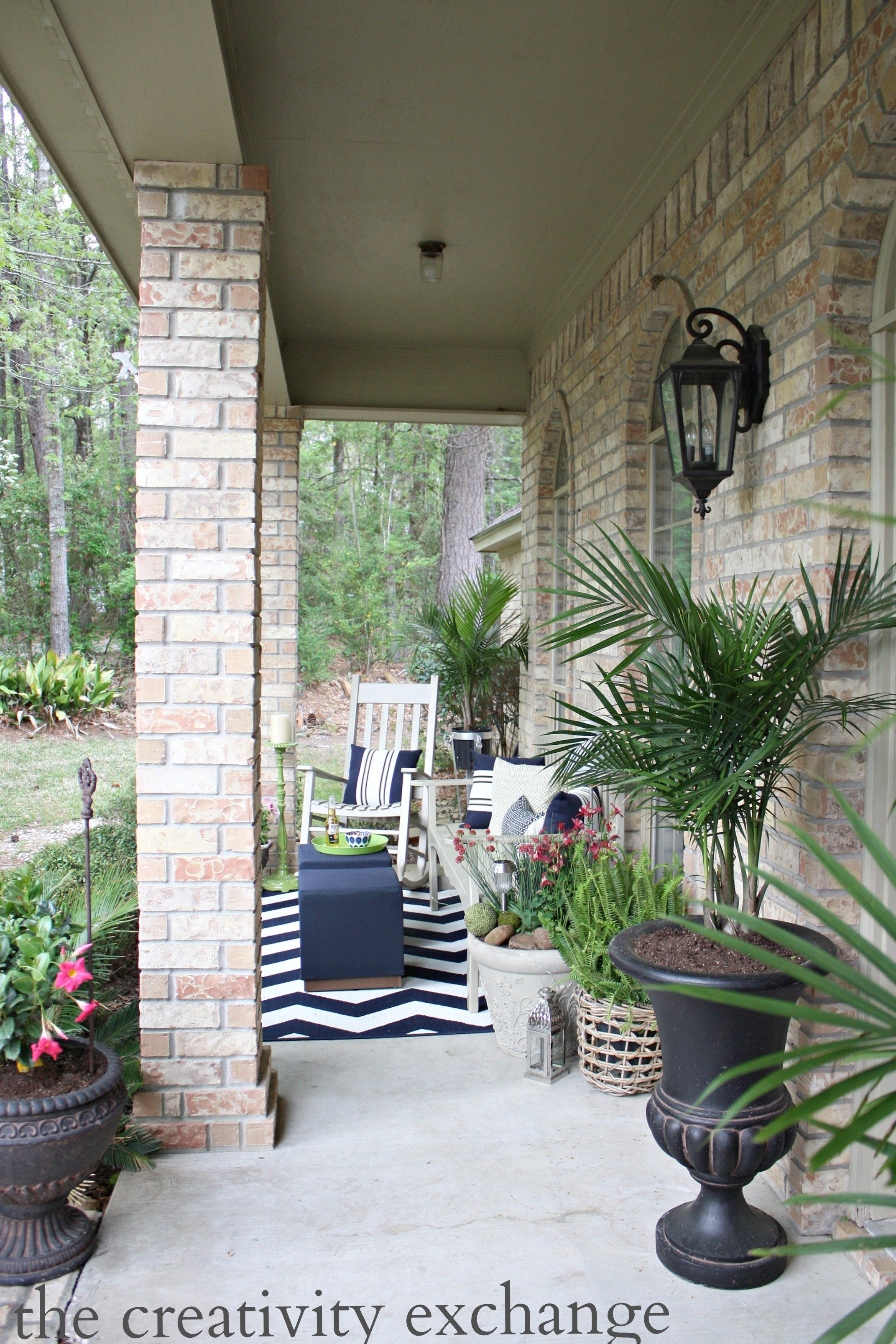 Front porch revamp. Creative porch and patio ideas from The Creativity Exchange
