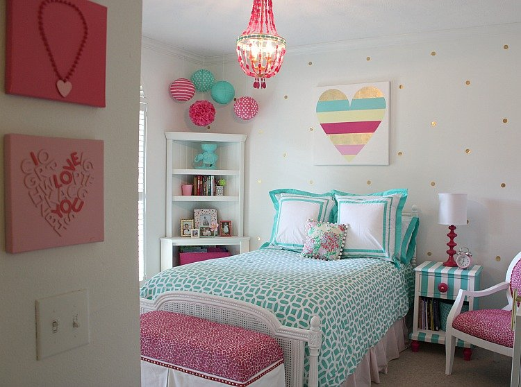 Little girl 39 s room revamped to bright and bold tween room for Fun crafts for girls