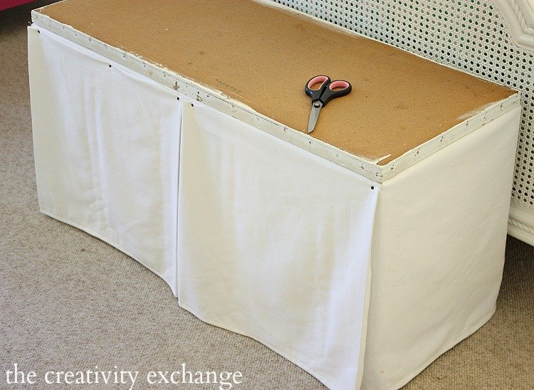 How to dress up a standard cheap storage bench into a chic upholstered piece.  The Creativity Exchange