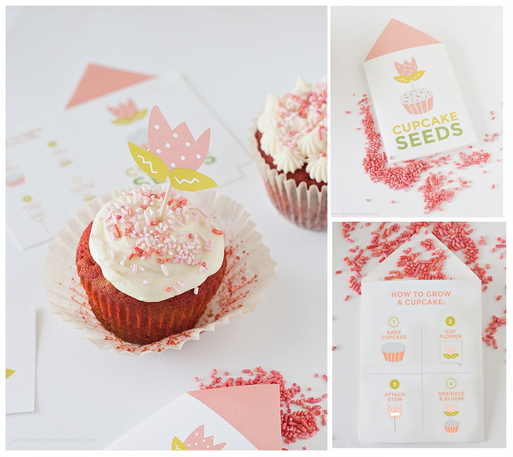 Jumbo red velevet cupcakes with adorable printable cupcake seed packets for giving as gifts. Design Eat Repeat and The Creativity Exchange