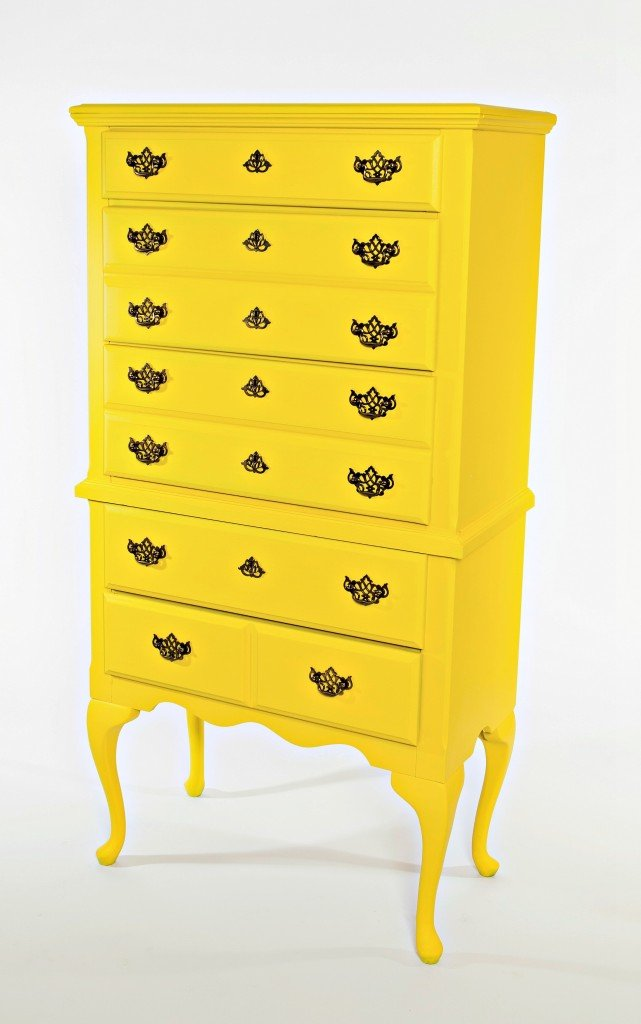 Dresser highboy painted in the color Bold from Velvet Finishes.  The Creativity Exchange