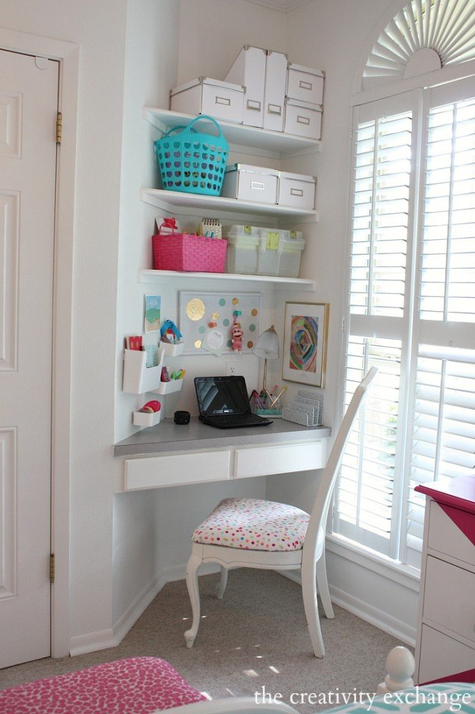 Organized children's desk nook. The Creativity Exchange