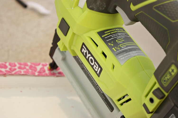 RYOBI Airstrike Cordless Staple Gun.  No need for a compressor. Best tool invention ever! The Creativity Exchange