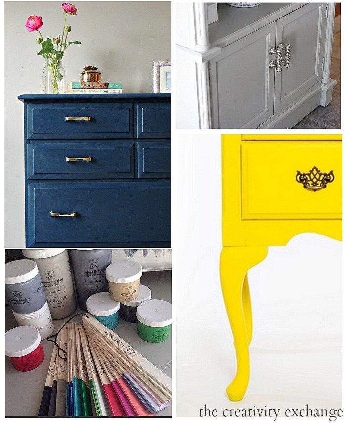 Round up of furniture revamps with the new awesome paint line Velvet Finishes. The Creativity Exchange
