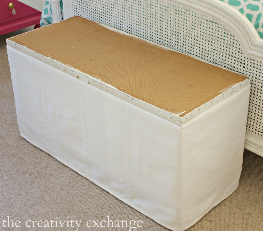 Tutorial for recovering storage benches and ottomans with faux panel upholstery trick.  The Creativity Exchange