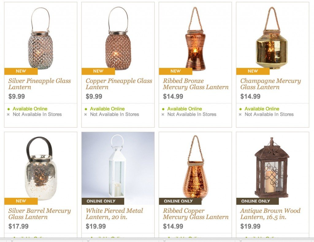 Stunning mercury glass lanterns at Kirkland's that are super inexpensive.  The Creativity Exchange
