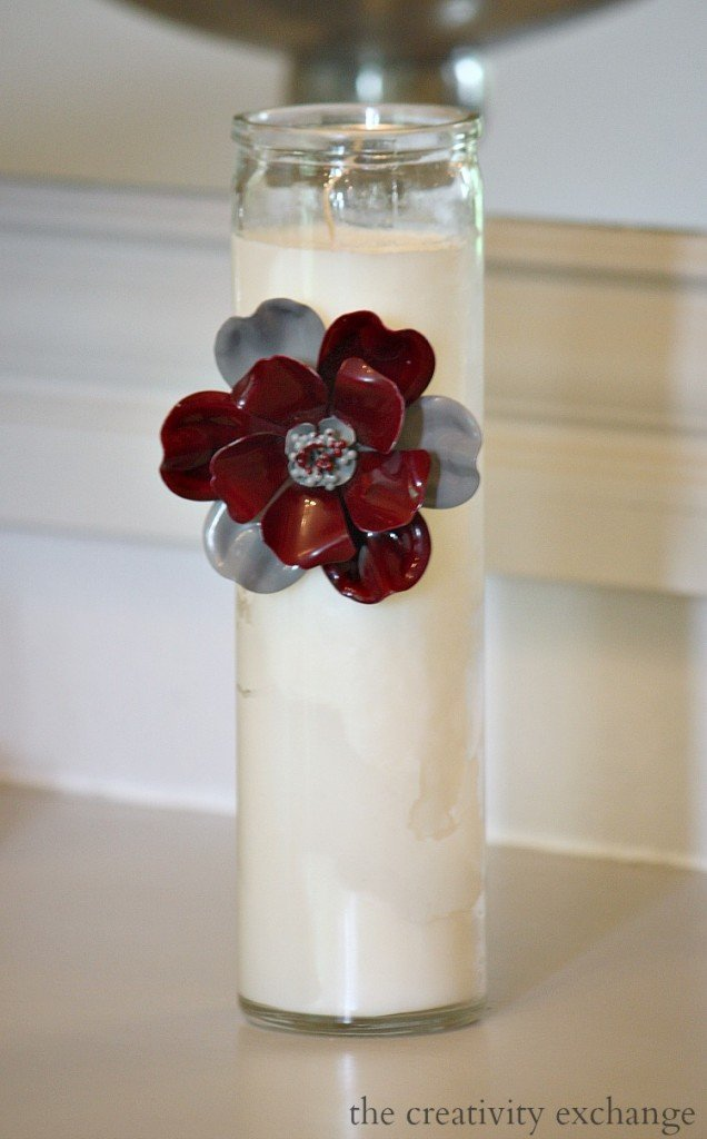 Tutorial for attaching vintage pins to candles or glass containers for beautiful gifts.  The Creativity Exchange