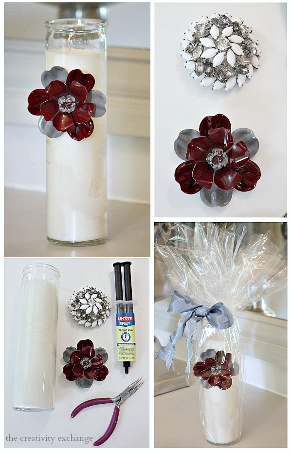 Tutorial for glueing vintage pins to candles or glass containers for a unique gift idea.  The Creativity Exchange