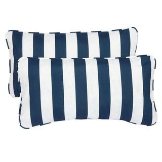 Navy striped pillows set of 2 for $38.00 from Overstock.  The Creativity Exchange
