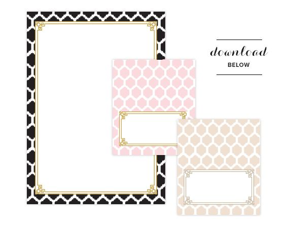 Free printable chic stationary and place cards from 100layercake.