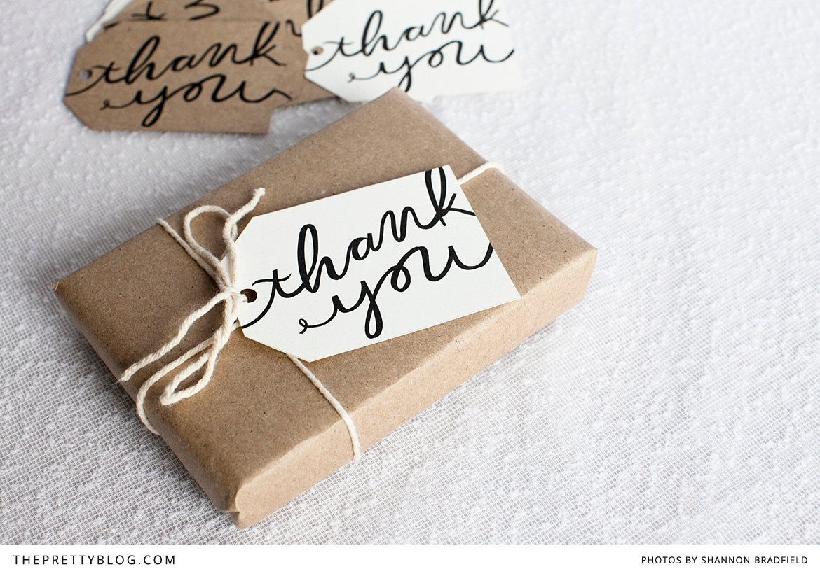 Free printable thank you gift tags from The Pretty Blog.